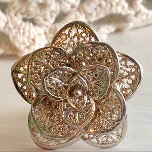 Sterling Adjustable Filigree Flower Ring